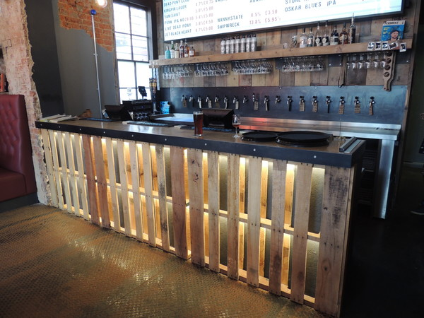 The pallet bar at BrewDog